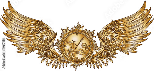 Photo  Mechanical wings in steampunk style with clockwork.