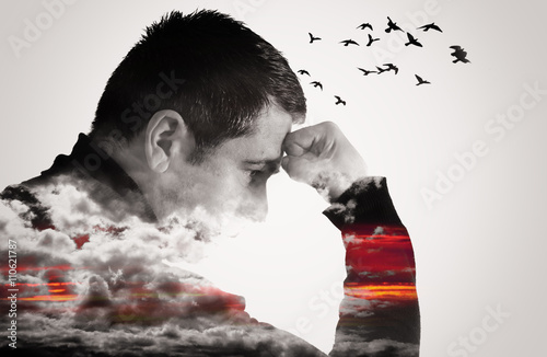 Fotografie, Obraz  Man Thinking Double Exposure with Birds