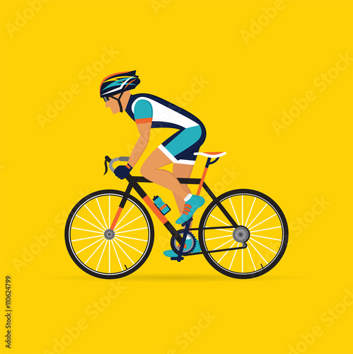 Fotografie, Obraz  cyclist male on a yellow background.  vector illustration.