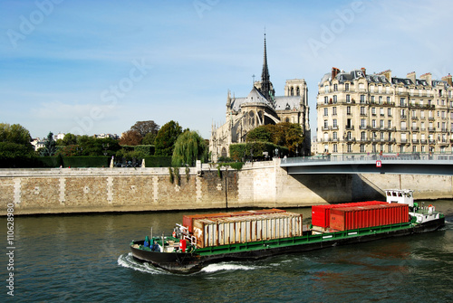 Fotografie, Obraz  Transport of containers on the Seine in Paris