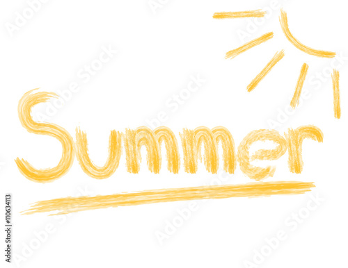 vector illustration the word summer in pencil with sun drawing - Buy