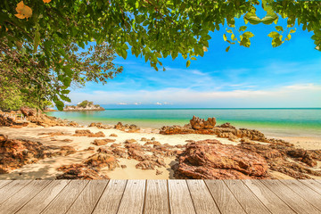 Fototapeta Molo Beautiful beach of south of Thailand with plank under picture