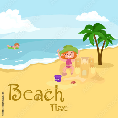 Foto op Plexiglas Turkoois Summer children. Kids playing in the sand on beach