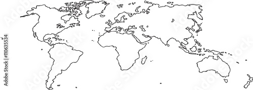 Fotobehang Wereldkaart Freehand world map sketch on white background. Perspective view.