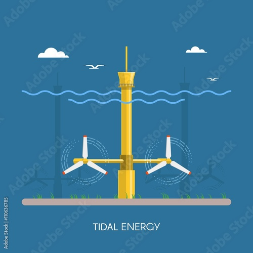 Tidal power plant and factory. Water turbines. Green energy industrial concept. Vector illustration in flat style. Electricity station background. Wall mural