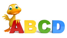 Duck Cartoon Character With AB...