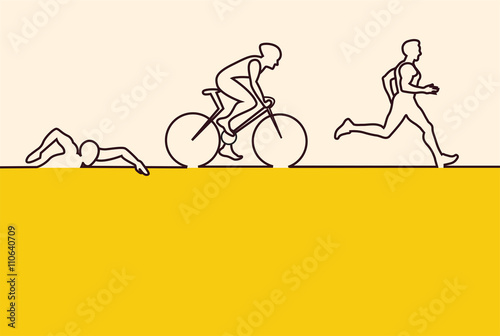 Photo Vector illustration triathlon, flat design