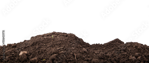 Fotografía  heap of soil isolated on white background