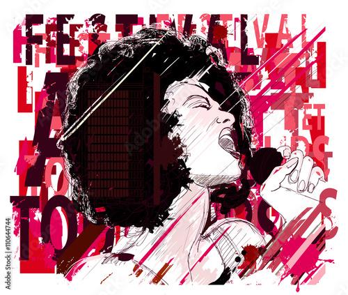 Photo sur Toile Art Studio Music Jazz, afro american jazz singer