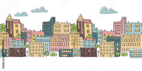 Cityscape seamless pattern for your design. Doodle colorful city vector background. Horizontal urban scene.