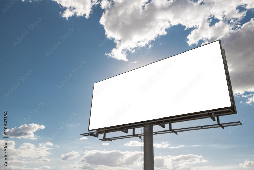 Fototapety, obrazy: Billboard - Empty billboard in front of beautiful cloudy sky in a rural location