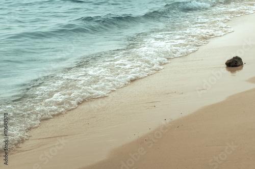 Foto auf Gartenposter Strand Wave of the sea on the sand beach