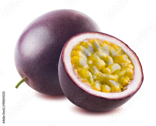 Passion fruit maraquia whole half isolated on white background Wall mural