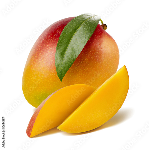 Mango leaf long slices isolated on white background