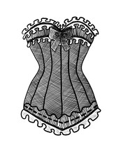 Corset On White Background. Bl...