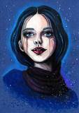 Portrait of beautiful girl with blue hair on blue textured background. Fashion acrylic hand-painted illustration - 110655782