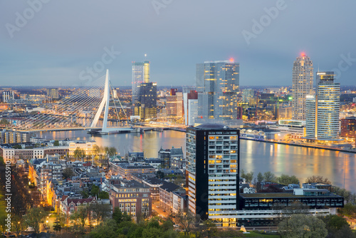 Fotobehang Rotterdam Rotterdam Skyline at night in Netherlands