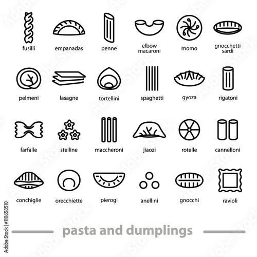 Fotografie, Obraz  pasta and dumplings icons