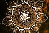 Ornamental mandala. Original hand draw and computer collage. Color effect. - 110660501