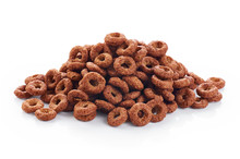 Chocolate Corn Rings Isolated On White Background. Cereals.