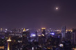urban cityscape night view and moon light