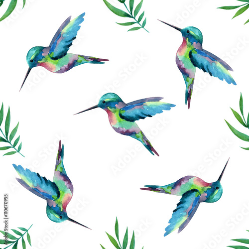 Cotton fabric Watercolor seamless pattern with  birds.
