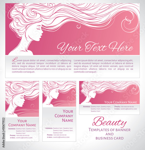 Vector Illustration Beautiful Silhouette Of Long Hair Woman On Pink Background Templates Of Banner And Business Card Concept Design For Beauty Salons Spa Cosmetics Fashion And Beauty Industry Buy This Stock