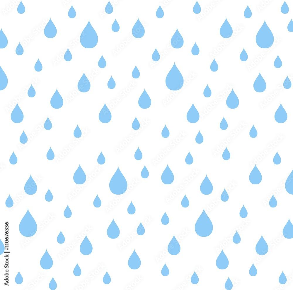 Fototapety, obrazy: Seamless pattern blue rain drops on white, vector illustration