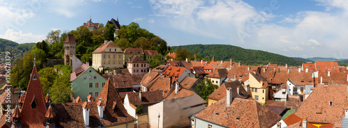 Fotografie, Obraz  Sighisoara - Aerial view of the old city