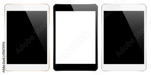 Fotografia  mock up tablet collection set isolated on white vector design