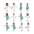 doctor surgeon cartoon set