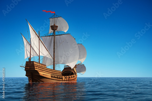 Tuinposter Schip Caravel In The Ocean