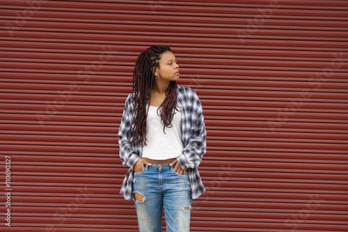 Fotografie, Obraz  girl with braids on the street