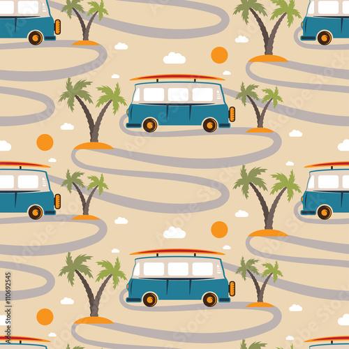 Materiał do szycia Jednolity wzór retro Bus z deski surfingowej w plaży z palmami
