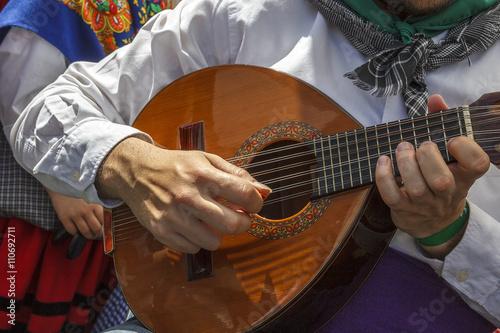Músico tocando el laúd en la calle Tableau sur Toile
