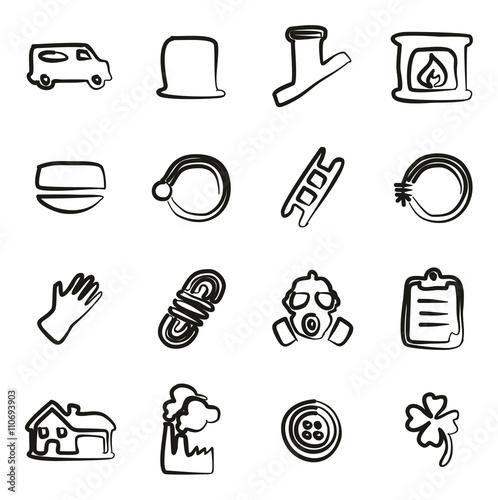 Fototapety, obrazy: Chimney Sweeper Icons Freehand