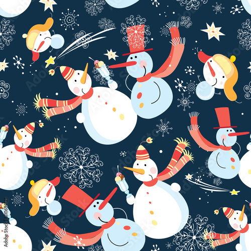 Cotton fabric Seamless graphic pattern of Christmas snowman