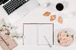 canvas print picture - Workspace with diary, pen, vintage white tray, sakura, roses, croissants and coffee on white background. Top view, flat lay