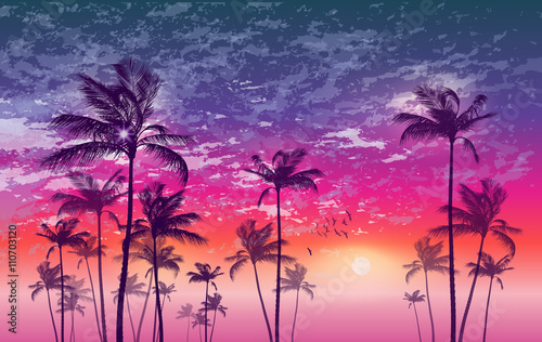 Spoed Foto op Canvas Oceanië Exotic tropical palm trees at sunset, with cloudy sky