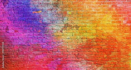 Poster Graffiti Colorful brick wall background