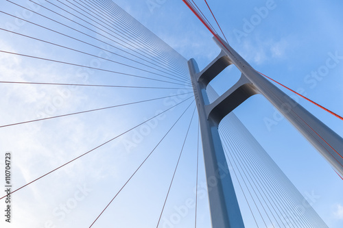 Fotobehang Brug the cable stayed bridge closeup