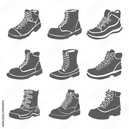 Set of nine different boots illustration isolated on white background Fototapet