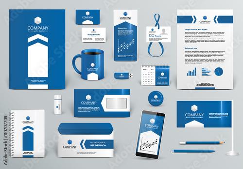 Fotografie, Obraz  Professional blue branding design kit with arrow for real estate/investment