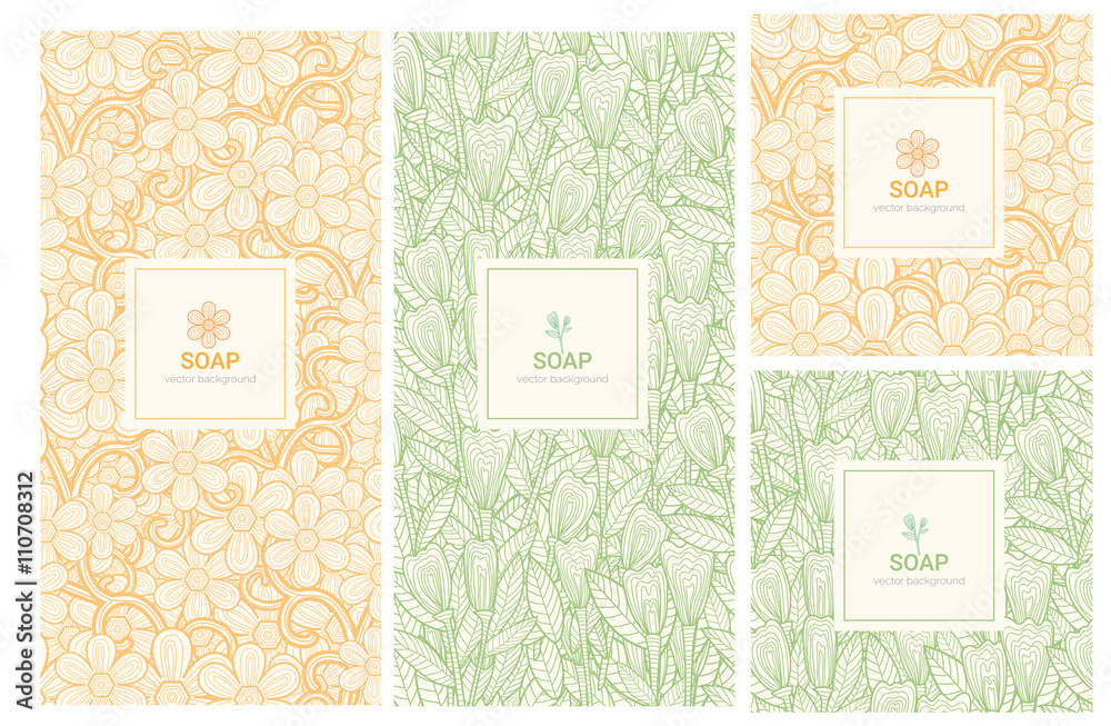 Fototapety, obrazy: Vector set of design elements and icons in trendy linear style for soap package