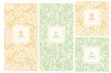 Vector Set Of Design Elements And Icons In Trendy Linear Style For Soap Package