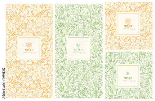 Fotografiet  Vector set of design elements and icons in trendy linear style for soap package