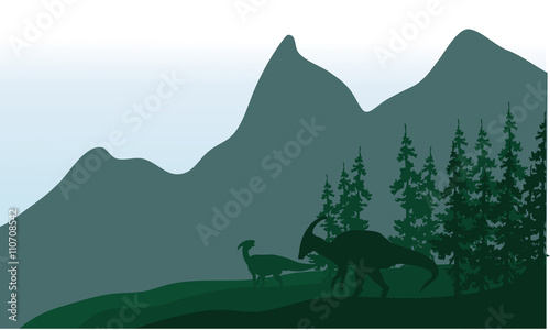 Silhouette of parasaurolophus in fields Canvas Print