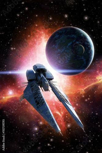Spaceship planet and nebula