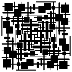 Panel Szklany Abstrakcja Abstract black and white geometric pattern