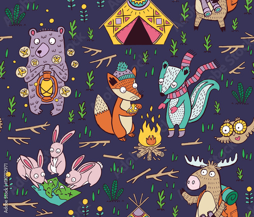 Valokuva  Hand drawn camping seamless pattern with cartoon characters
